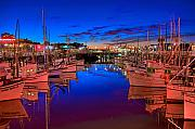 Trawler Metal Prints - Blue Harbor Red Neon Metal Print by William Wetmore