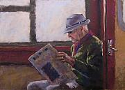 People Pastels Framed Prints - Blue Hat Retired Framed Print by Mary McInnis