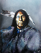 Native American Art Mixed Media Posters - Blue Hawk Poster by J W Baker