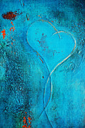 Couples Mixed Media Prints - Blue Heart Abstract Print by Anahi DeCanio