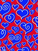 Colored Background Art - Blue Hearts On Red Background by Lana Sundman