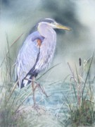 Blue Heron At Pepperdine Print by Patricia Pushaw