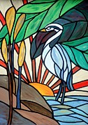 Mosaic Mixed Media Originals - Blue Heron  by Cynthia Amaral