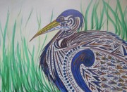 Blue Heron Drawings Prints - Blue Heron For Lana Print by Dawn Van Ness