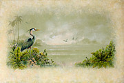 Tropical Paintings - Blue Heron by Keith Stillwagon