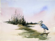 Great Blue Heron Paintings - Blue Heron by Lynne Parker