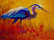 Texture Painting Prints - Blue Heron Print by Marion Rose