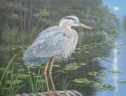 Great Blue Heron Paintings - Blue Heron Moon by Bruce Dumas
