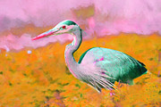 Big Bird Prints - Blue Heron . Painterly Print by Wingsdomain Art and Photography