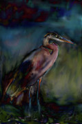 Oil Slick Painting Prints - Blue Heron Painting II Print by Don  Wright