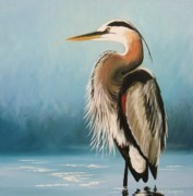 Waterfowl Paintings - Blue Heron by Sarah Grangier
