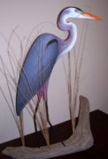 Pelican Sculpture Sculpture Originals - Blue Heron sculpture www rodbecklund com  by Rod Becklund