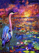 Blue Heron Sunset Print by Ginette Fine Art LLC Ginette Callaway