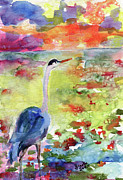 National Parks Paintings - Blue Heron Sunset Watercolor by Ginette by Ginette Fine Art LLC Ginette Callaway