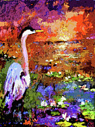 Wetland Paintings - Blue Heron Sunset Wetland by Ginette Fine Art LLC Ginette Callaway
