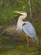 Great Blue Heron Paintings - Blue Heron by Tammy  Taylor