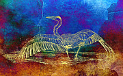 Photographs Mixed Media - Blue Heron Textured Color by Carmen Del Valle