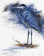 Virgil Paintings - Blue Heron by Virgil Stephens