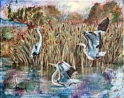Sokolovich Painting Prints - Blue Herons And Cats Print by Ann Sokolovich