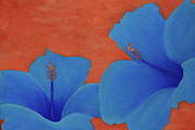 Painted Paintings - Blue Hibiscus by Nick Flavin