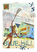 Stamps Prints - Blue Hill Village Print by Ernestine Grindal