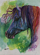 Horses Drawings - Blue horse with red mane by Angel  Tarantella