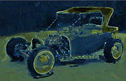 T Bucket Hot Rod Posters - Blue Hot Rod T Bucket Poster by David Lambertino