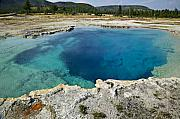 Geothermal Posters - Blue hot springs Yellowstone National Park Poster by Garry Gay