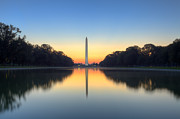 Washington Monument Framed Prints - Blue hour at the Mall Framed Print by Edward Kreis