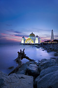 Malaysia Prints - Blue hour at the Mosque Print by Ng Hock How