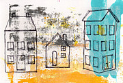 Abstract Landscape Mixed Media Prints - Blue House Print by Linda Woods