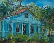 Haunted House Paintings - Blue House on the Bluff by Ann Bailey