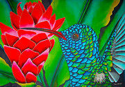 Tropical Wildlife Tapestries - Textiles Posters - Blue Hummingbird Poster by Daniel Jean-Baptiste