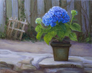 Outdoor Still Life Paintings - Blue Hydrangea in April by Nanci France-Vaz