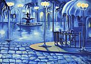 Cobblestone Paintings - Blue Ice by Toni  Thorne