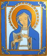 Virgin Mary Painting Originals - Blue Icon by Stephanie Moore