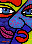 Abstract Faces Posters - Blue in the Face Poster by Steven Scott
