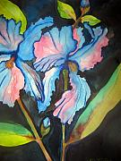 Blue And Gold Paintings - Blue Iris by Lil Taylor