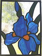 Panel Glass Art - Blue Iris by Liz Shepard