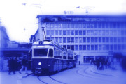 Tram Photos - Blue is the color of Zurich Switzerland by Susanne Van Hulst