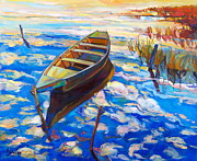 Boat Pastels Metal Prints - Blue Metal Print by Ivailo Nikolov