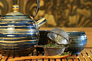 Asia Photo Metal Prints - Blue Japanese teapot Metal Print by Sandra Cunningham