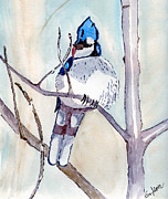 Tree Art Print Drawings Framed Prints - Blue Jay Framed Print by Eva Ason