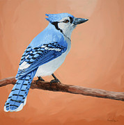 Bluejay Painting Metal Prints - Blue Jay Metal Print by Lesley Alexander