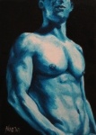 Nude Painting Framed Prints - Blue Framed Print by Jindra Noewi