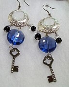 Grey Black Jewelry - Blue Key Chandelier by Kristin Lewis