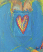 Release Mixed Media Posters - Blue Lady With Heart Poster by Laurie Wynne Weber