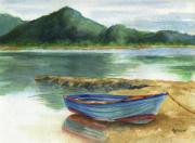 Greece Painting Originals - Blue Lake Greece by Marsha Elliott