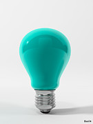 Ligth Bulb Digital Art Prints - Blue Lamp Print by BaloOm Studios