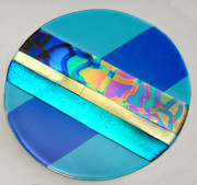 Dichroic Art Glass Glass Art Originals - Blue Lava Day by Sandy Feder